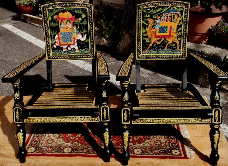 Vendita Sedie A Sdraio.Vendita Coppia Di Sedie A Sdraio Etniche Decorate Restauro Mobili